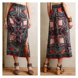 Anthropologie Maeve Geoda Wrap Silk Maxi Skirt